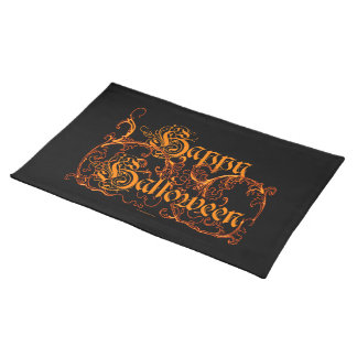 Happy Halloween Ghostly Orange Scrolls Placemat