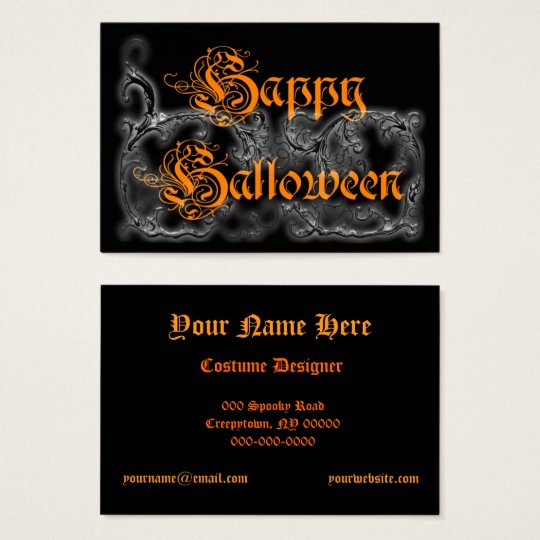 Happy Halloween Ghostly Scrolls Business Card