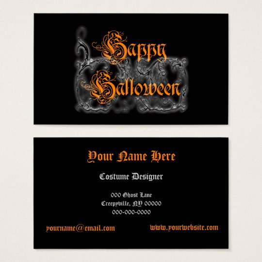 Happy Halloween Ghostly White Scrolls Business Card