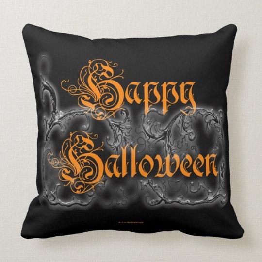 Happy Halloween Ghostly White Scrolls Cushion