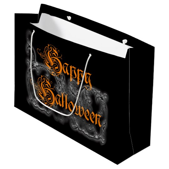 Happy Halloween Ghostly White Scrolls Large Gift Bag