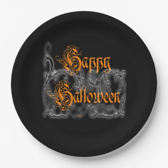 Happy Halloween Ghostly White Scrolls Paper Plate