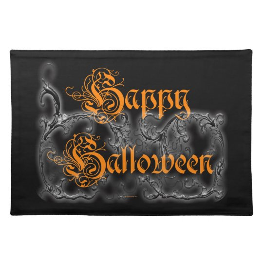 Happy Halloween Ghostly White Scrolls Placemat