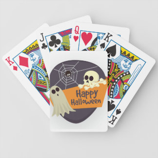 Happy Halloween Ghosts and Crossbones Bicycle Playing Cards