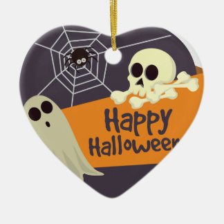 Happy Halloween Ghosts and Crossbones Ceramic Ornament
