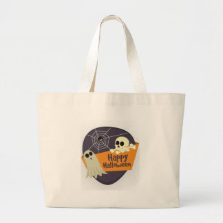 Happy Halloween Ghosts and Crossbones Large Tote Bag