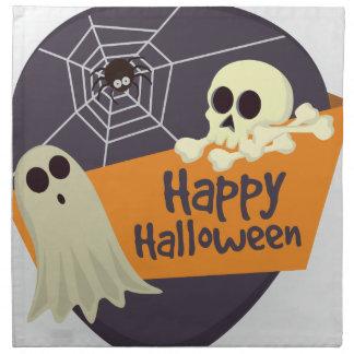 Happy Halloween Ghosts and Crossbones Napkin