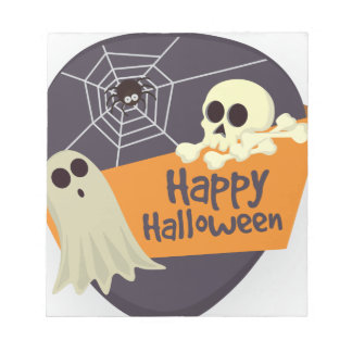 Happy Halloween Ghosts and Crossbones Notepad