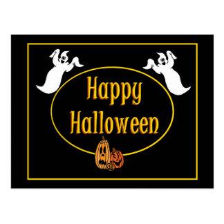 Happy Halloween Ghosts and Jack o' Lanterns Postcard