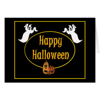 Happy Halloween Ghosts And Pumpkin Greeting Card