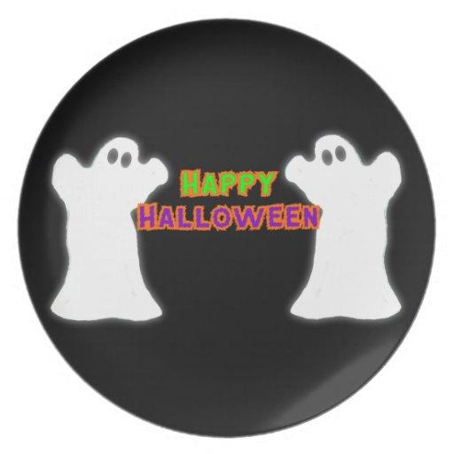 Happy Halloween Ghosts Plates