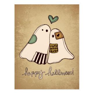 happy halloween ghosts postcard