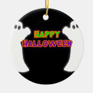 Happy Halloween Ghosts Round Ceramic Decoration