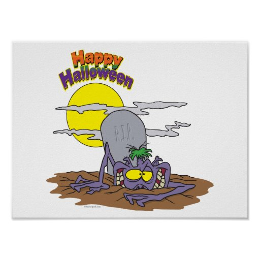 happy halloween ghoul rising from grave print