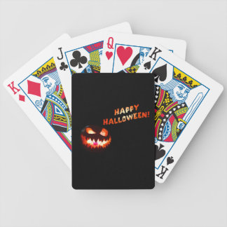 HAPPY HALLOWEEN - Glowing Jack-O-Lantern Bicycle Playing Cards