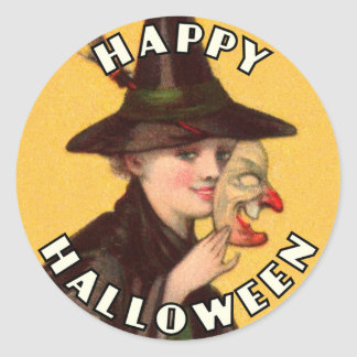 Happy Halloween Good Witch with Mask Sticker