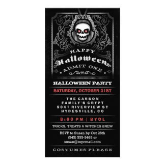 Happy Halloween Gothic Skull Admit One Invitation
