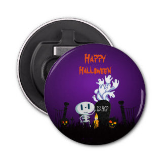 Happy Halloween Graveyard Spooky Skeleton & Ghosts