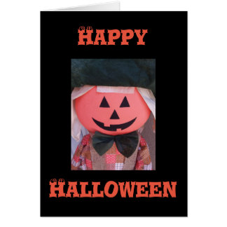 Happy Halloween greeting card with jack o' lantern