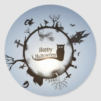 Happy Halloween greeting Classic Round Sticker