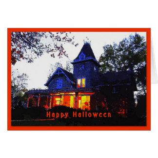 Happy Halloween Haunted House Greeting Card