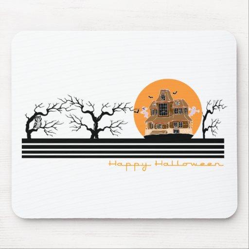 Happy Halloween (Haunted House) Mousepads