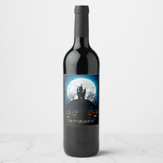 Happy Halloween Haunted House On The Hill Wine Label