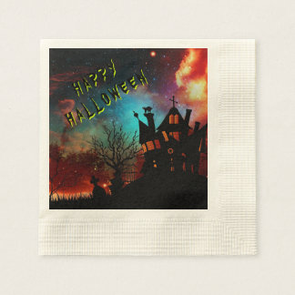 Happy Halloween Haunted House Party Paper Napkin