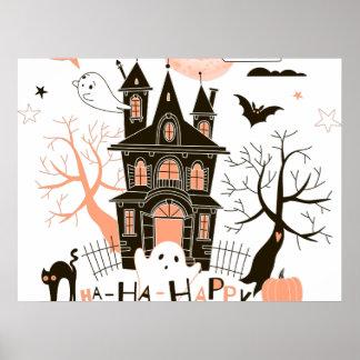 Happy Halloween Haunted House Poster