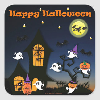 Happy Halloween Haunted House Square Sticker
