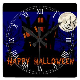 Happy Halloween Haunted House Square Wall Clock