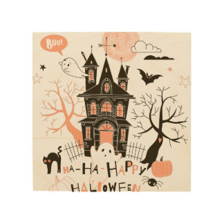 Happy Halloween Haunted House Wood Wall Art
