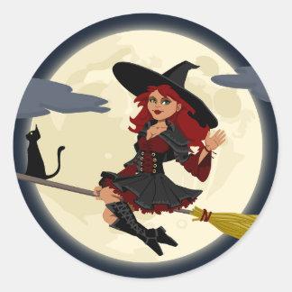 Happy Halloween holiday greeting design Round Sticker