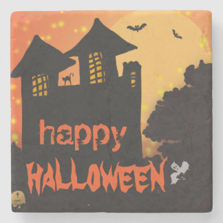 Happy Halloween House | Bat | Cat | Moon | Ghost Stone Beverage Coaster