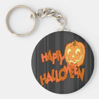 Happy Halloween Jack o lantern Basic Round Button Key Ring