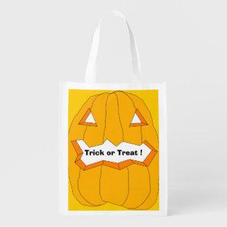 Happy Halloween-Jack-o'-lantern Reusable Treat Bag Market Totes