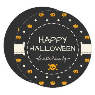 Happy Halloween. Jack O Lantern White Polka Dots Card