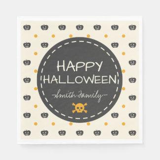 Happy Halloween. Jack O Lantern White Polka Dots Disposable Napkins