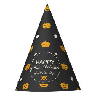 Happy Halloween. Jack O Lantern White Polka Dots Party Hat
