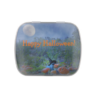 Happy Halloween Jelly Bean Tin with Cute Kitty Jelly Belly Tin