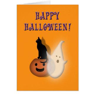 Happy Halloween Kids Spooky ghost cat pumpkin Greeting Card