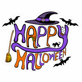 Happy Halloween Lettering Pin Photo Sculpture Badge
