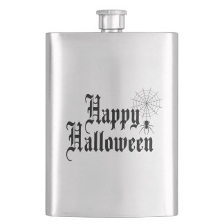 Happy Halloween minimalist typography Hip Flask