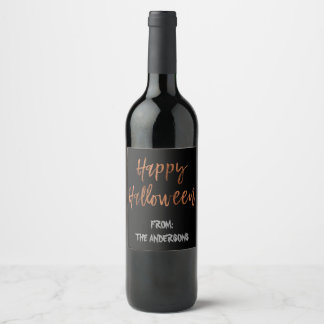 Happy Halloween Modern Halloween Wine Bottle Label