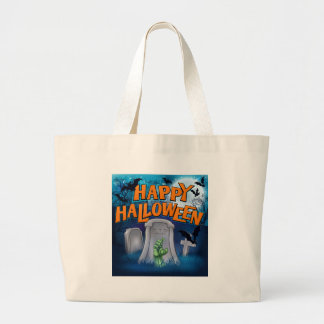 Happy Halloween Monster Zombie Cartoon Sign Large Tote Bag