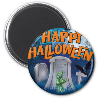 Happy Halloween Monster Zombie Cartoon Sign Magnet