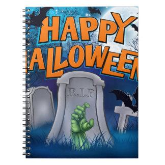 Happy Halloween Monster Zombie Cartoon Sign Notebooks