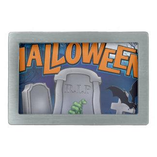 Happy Halloween Monster Zombie Cartoon Sign Rectangular Belt Buckles