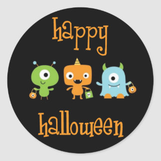 Happy Halloween monsters Classic Round Sticker