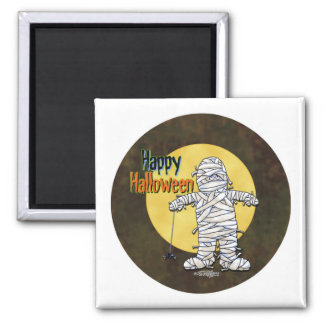 Happy Halloween Mummy Square Magnet